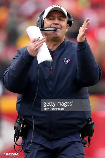 Head coach Bill O'Brien of the Houston Texans reacts to a call as the Texans take on the Kansas City Chiefs in the second half of the AFC Divisional...