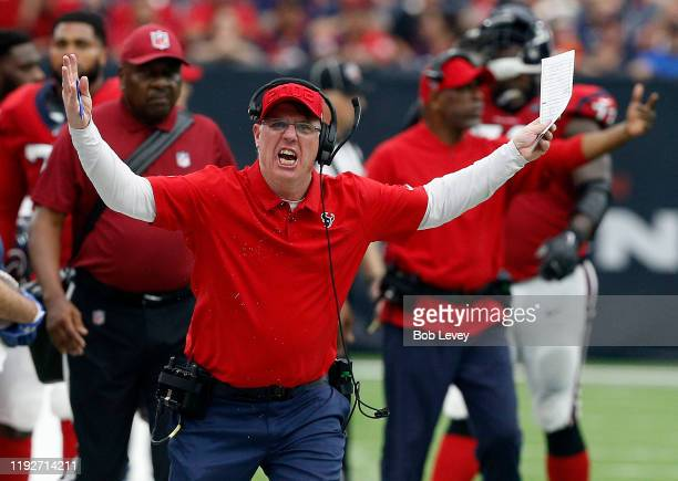 Head coach Bill O'Brien of the Houston Texans reacts to a hit on DeAndre Hopkins of the Houston Texans by Kareem Jackson of the Denver Broncos in the...