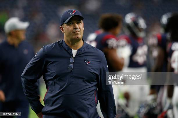 Head coach Bill O'Brien of the Houston Texans walks to the locker room before the preseason game against the Dallas Cowboys at NRG Stadium on August...