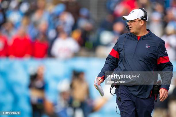 Head coach Bill O'Brien of the Houston Texans watches game action during the first quarter against the Tennessee Titans at Nissan Stadium on December...