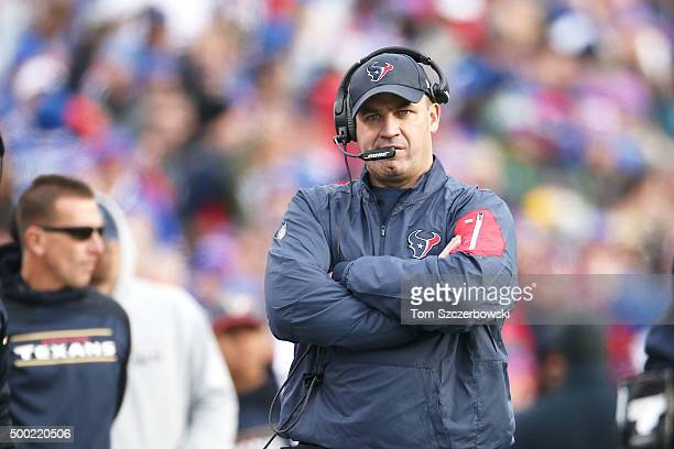 Head Coach Bill O'Brien of the Houston Texans watches the game against the Buffalo Bills during the first half at Ralph Wilson Stadium on December 6...