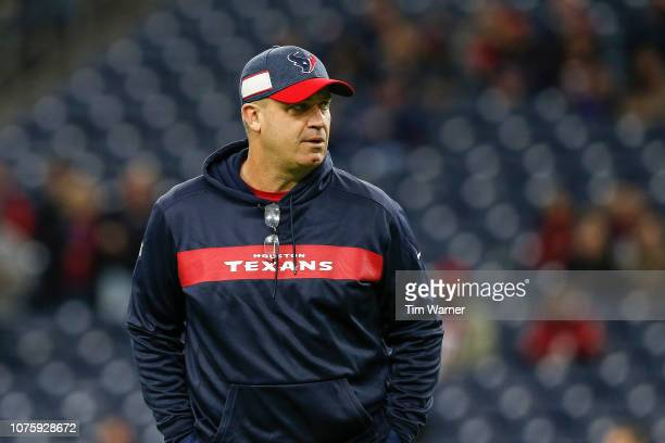 Head coach Bill O'Brien of the Houston Texans watches warmups before the game against the Jacksonville Jaguars at NRG Stadium on December 30 2018 in...