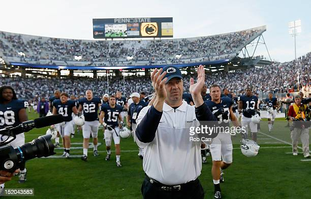 Head coach Bill O'Brien of the Penn State Nittany Lions celebrates after defeating the Navy Midshipmen 347 at Beaver Stadium on September 15 2012 in...