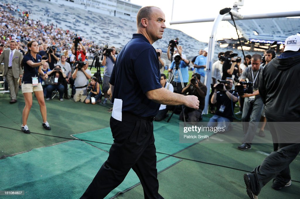 Head coach Bill O'Brien of the Penn State Nittany Lions football team walks onto the field before pep rally at Beaver Stadium on August 31, 2012 in State College, Pennsylvania. Penn State will play it's first game under O'Brien against Ohio University on September 1 following the death of former coach Joe Paterno.
