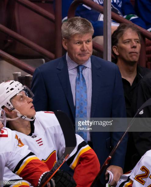 Head Coach Bill Peters in NHL action against the Vancouver Canucks on October 2018 at Rogers Arena in Vancouver British Columbia Canada