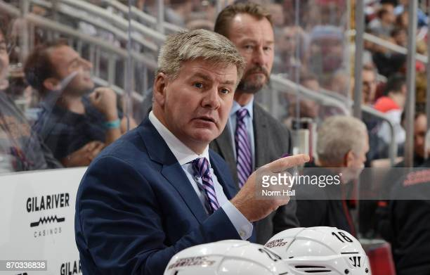 Head coach Bill Peters of the Carolina Hurricanes getsures during third period action against the Arizona Coyotes at Gila River Arena on November 4...