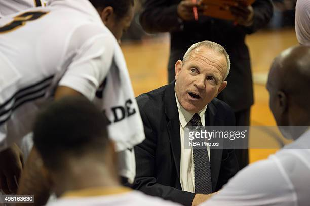 Head Coach Bill Peterson of the Erie BayHawks coaches during the game against the Delaware 87ers at the Erie Insurance Arena on November 20 2015 NOTE...