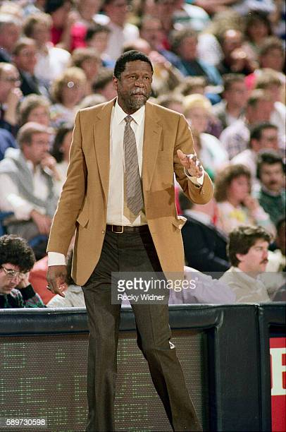 Head coach Bill Russell of the Sacramento Kings looks on during the game against the Portland Trail Blazers on February 11, 1988 at ARCO Arena in...