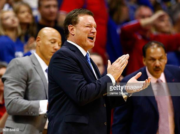 Head coach Bill Self of the Kansas Jayhawks applauds from the bench during the game against the Baylor Bears at Allen Fieldhouse on January 2 2016 in...