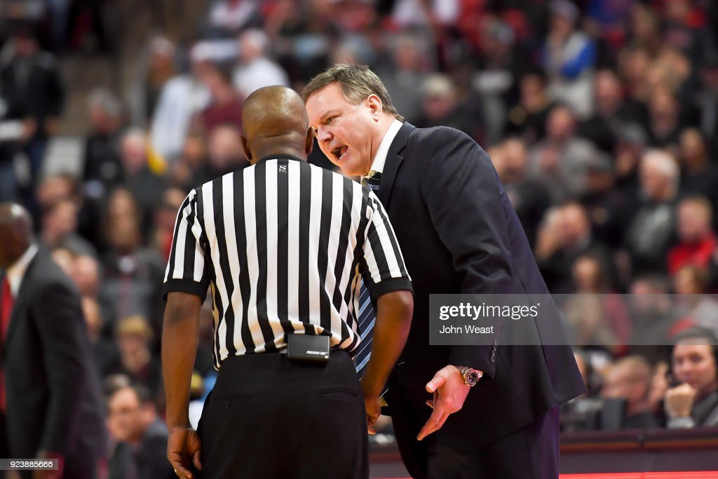 Head coach Bill Self of the Kansas Jayhawks argues a call with an official during the second half of the game against the Texas Tech Red Raiders on February 24, 2018 at United Supermarket Arena in Lubbock, Texas. Kansas defeated Texas Tech 74-72.