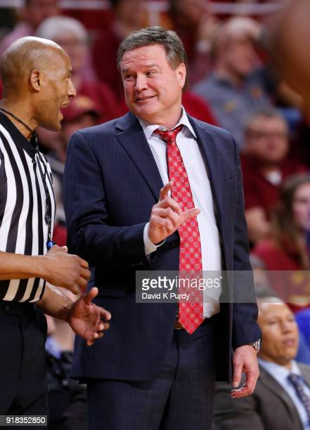 Head coach Bill Self of the Kansas Jayhawks argues a call with the referee in the first half of play against the Iowa State Cyclones at Hilton...