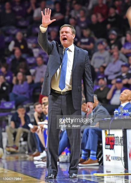 Head coach Bill Self of the Kansas Jayhawks calls out instructions during the first half against the Kansas State Wildcats at Bramlage Coliseum on...