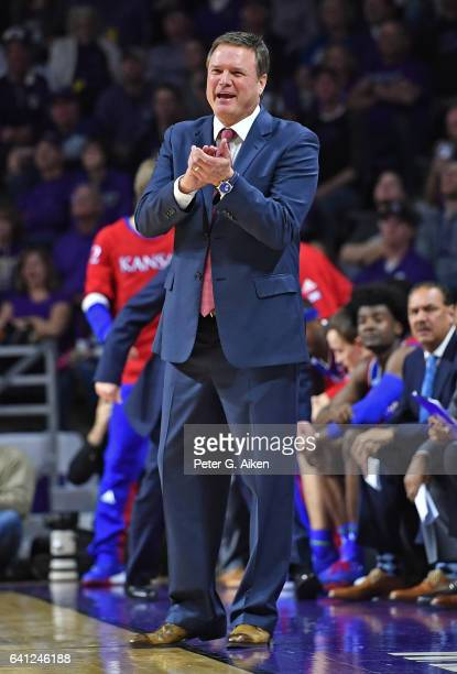 Head coach Bill Self of the Kansas Jayhawks calls out instructions against the Kansas State Wildcats during the second half on February 6 2017 at...