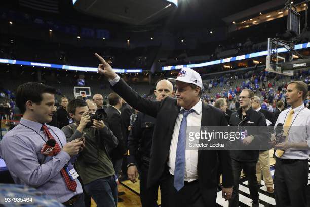 Head coach Bill Self of the Kansas Jayhawks celebrates after defeating the Duke Blue Devils with a score of 81 to 85 in the 2018 NCAA Men's...