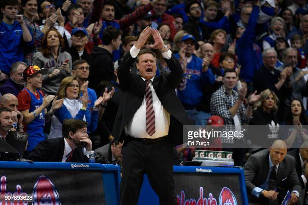 Head coach Bill Self of the Kansas Jayhawks cheers for his team against the Kansas State Wildcats at Allen Fieldhouse on January 13 2018 in Lawrence...