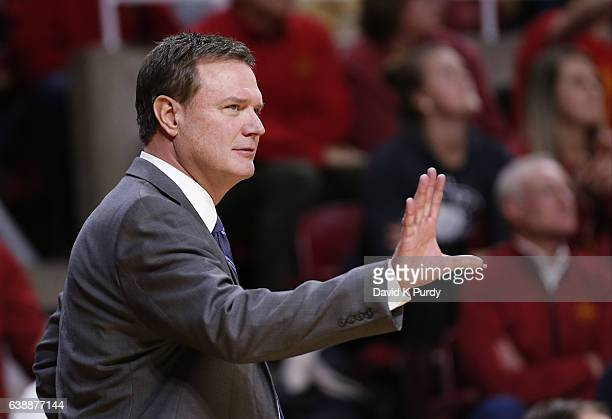 Head coach Bill Self of the Kansas Jayhawks coaches from the bench in the first half of play at Hilton Coliseum on January 16 2017 in Ames Iowa The...