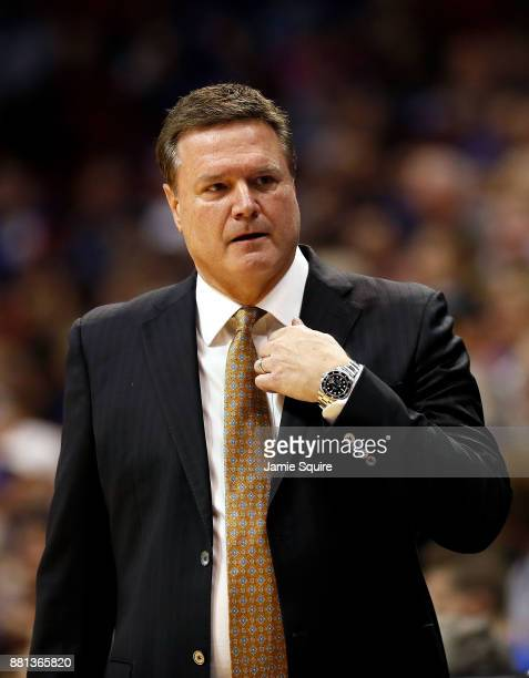 Head coach Bill Self of the Kansas Jayhawks coaches from the bench during the game against the Toledo Rockets at Allen Fieldhouse on November 28 2017...
