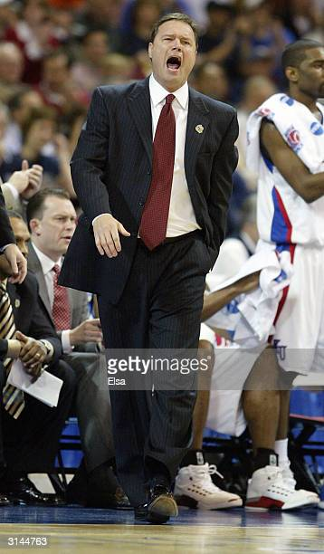 Head coach Bill Self of the Kansas Jayhawks directs his players against the AlabamaBirmingham Blazers during the third round game of the NCAA...
