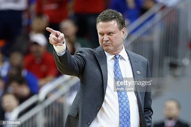 Head coach Bill Self of the Kansas Jayhawks gestures in the first half against the Maryland Terrapins during the 2016 NCAA Men's Basketball...
