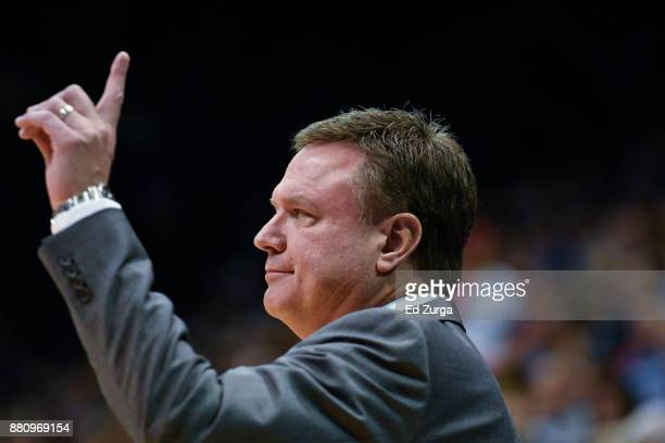 Head coach Bill Self of the Kansas Jayhawks instructs against the Texas Southern Tigers at Allen Fieldhouse on November 21 2017 in Lawrence Kansas