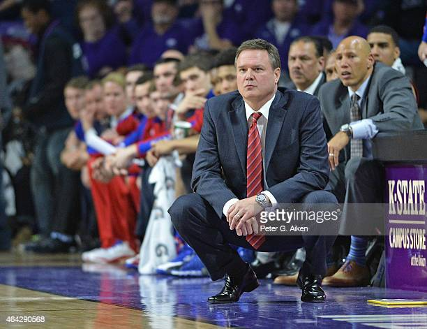 Head coach Bill Self of the Kansas Jayhawks looks down the court during the second half against the Kansas State Wildcats on February 23 2015 at...