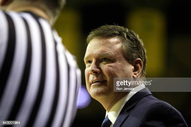 Head coach Bill Self of the Kansas Jayhawks looks on as Kansas plays Baylor in the first half at the Ferrell Center on February 18 2017 in Waco Texas