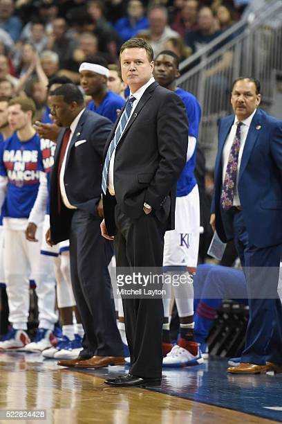 Head coach Bill Self of the Kansas Jayhawks looks on during the quarterfinal of the 2016 NCAA Men's Basketball Tournament game against the Villanova...