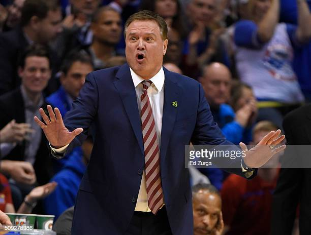 Head coach Bill Self of the Kansas Jayhawks reacts after a foul was called against his team against the West Virginia Mountaineers in the second half...