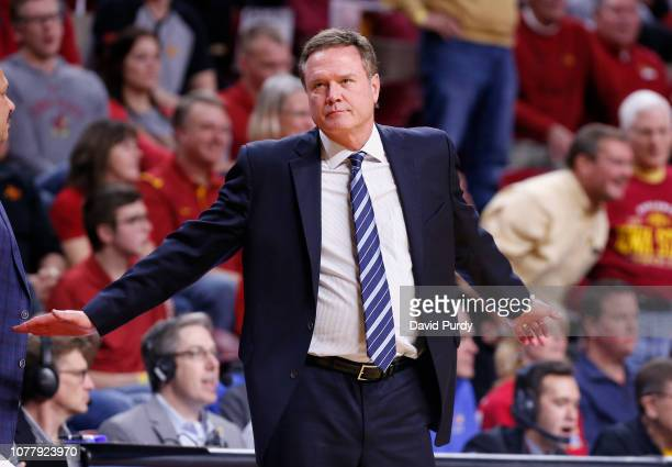 Head coach Bill Self of the Kansas Jayhawks reacts after technical foul was call on Kansas for 6 players on the court in the first half of play at...