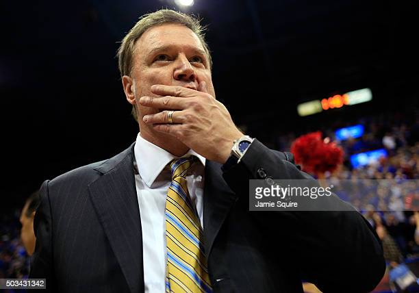 Head coach Bill Self of the Kansas Jayhawks reacts after the Jayhawks defeated the Oklahoma Sooners 109106 in triple overtime to win the game at...