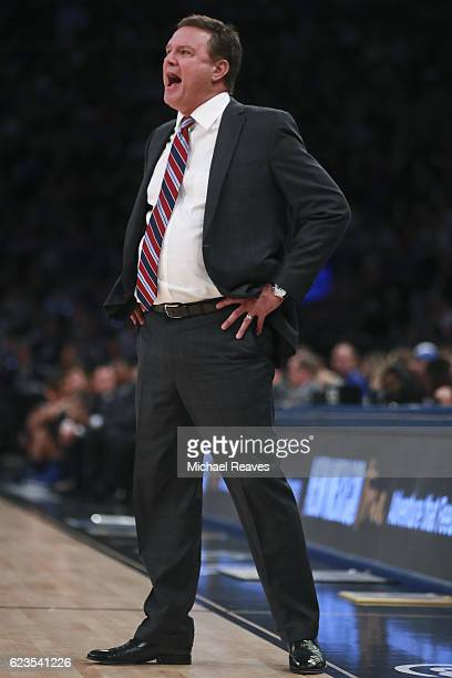 Head coach Bill Self of the Kansas Jayhawks reacts against the Duke Blue Devils in the first half during the State Farm Champions Classic at Madison...