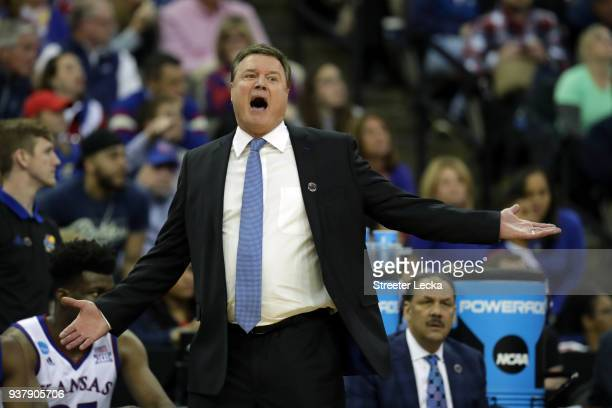 Head coach Bill Self of the Kansas Jayhawks reacts against the Duke Blue Devils during the first half in the 2018 NCAA Men's Basketball Tournament...