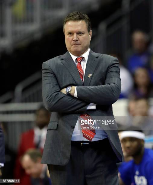 Head coach Bill Self of the Kansas Jayhawks reacts against the Oregon Ducks during the 2017 NCAA Men's Basketball Tournament Midwest Regional at...