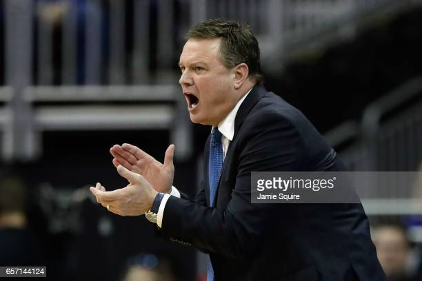 Head coach Bill Self of the Kansas Jayhawks reacts against the Purdue Boilermakers during the 2017 NCAA Men's Basketball Tournament Midwest Regional...