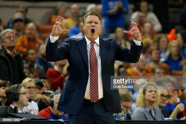 Head coach Bill Self of the Kansas Jayhawks reacts as his team plays the Texas Longhorns at the Frank Erwin Center on December 29 2017 in Austin Texas