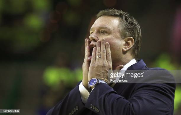 Head coach Bill Self of the Kansas Jayhawks reacts as Kansas plays Baylor in the first half at the Ferrell Center on February 18 2017 in Waco Texas