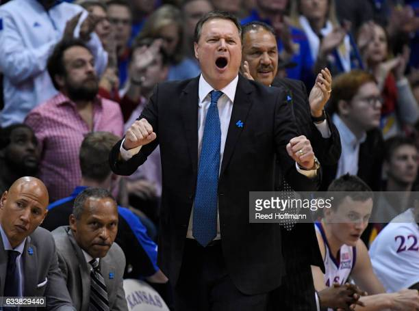 Head coach Bill Self of the Kansas Jayhawks reacts during the final minutes of their overtime loss against the Iowa State Cyclones on February 4 2017...