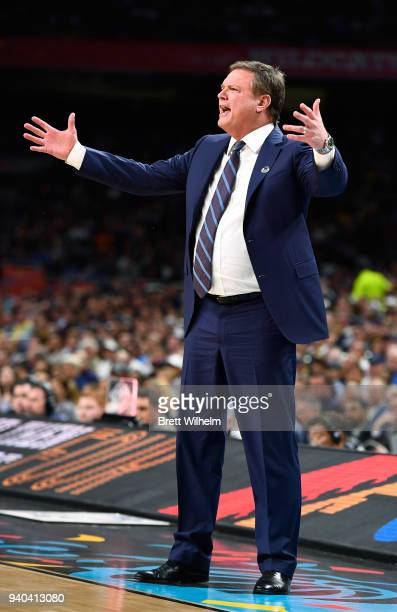 head coach Bill Self of the Kansas Jayhawks reacts during the first half avv in the 2018 NCAA Men's Final Four semifinal game at the Alamodome on...