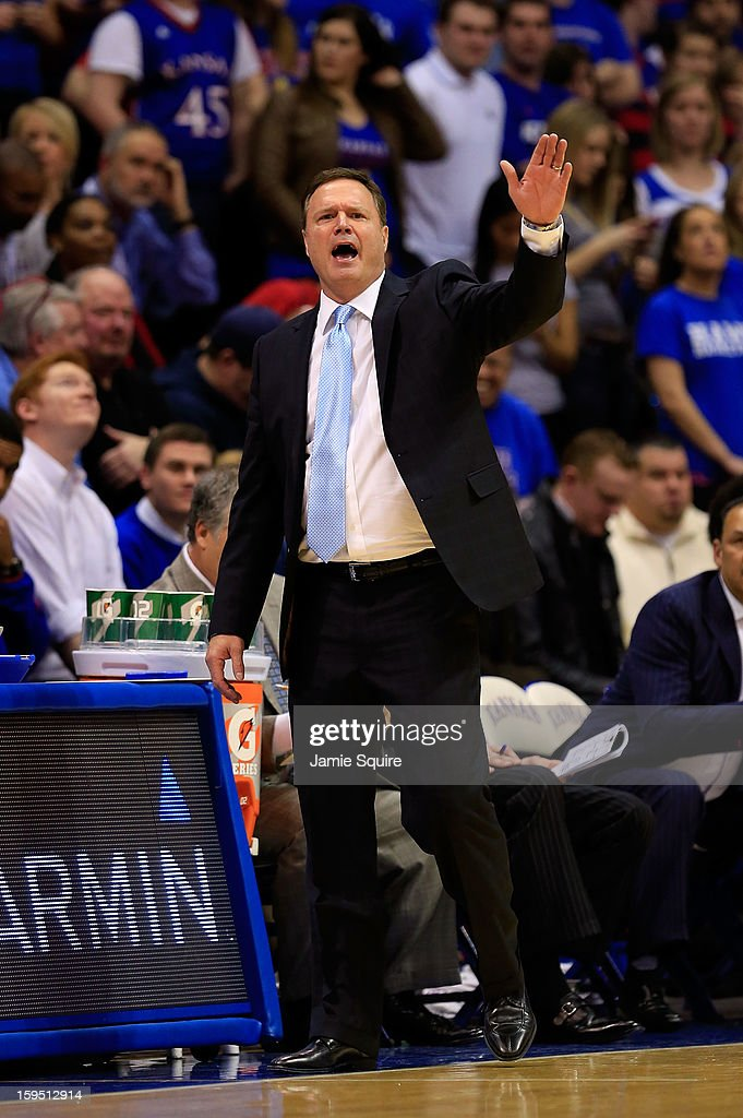Head coach Bill Self of the Kansas Jayhawks reacts during the game against the Baylor Bears at Allen Fieldhouse on January 14, 2013 in Lawrence, Kansas.