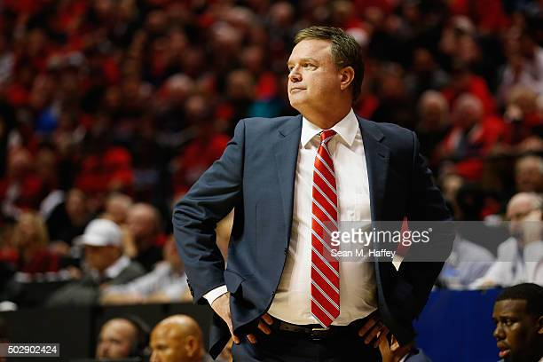 Head coach Bill Self of the Kansas Jayhawks reacts during the second half of a game against the San Diego State Aztecs at Viejas Arena on December 22...