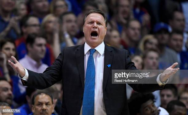 Head coach Bill Self of the Kansas Jayhawks reacts during the second half of their game against the Iowa State Cyclones on February 4 2017 at Allen...