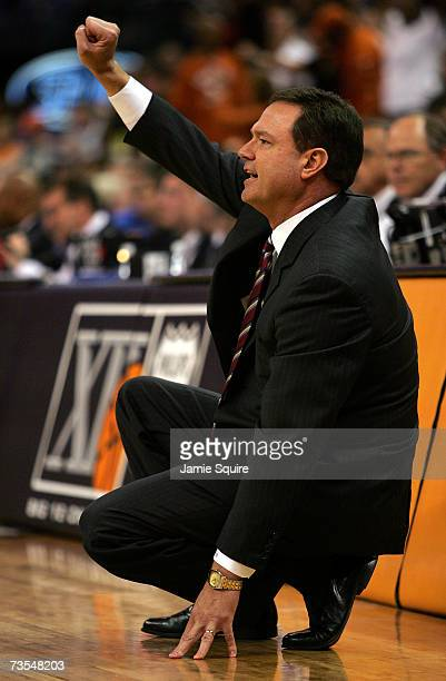 Head coach Bill Self of the Kansas Jayhawks reacts from the bench during the finals of the Phillips 66 Big 12 Men's Basketball Championship against...
