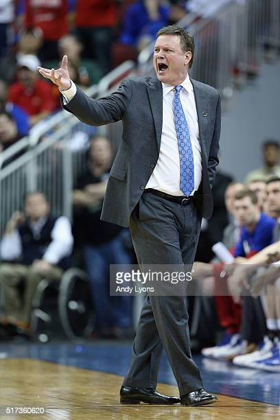 Head coach Bill Self of the Kansas Jayhawks reacts in the first half against the Maryland Terrapins during the 2016 NCAA Men's Basketball Tournament...