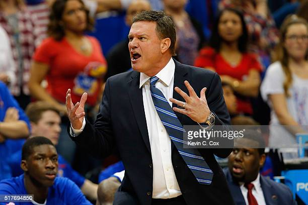 Head coach Bill Self of the Kansas Jayhawks reacts in the first half against the Villanova Wildcats during the 2016 NCAA Men's Basketball Tournament...