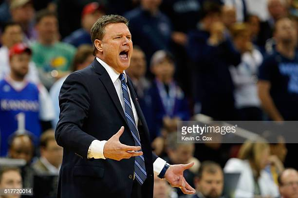 Head coach Bill Self of the Kansas Jayhawks reacts in the second half against the Villanova Wildcats during the 2016 NCAA Men's Basketball Tournament...