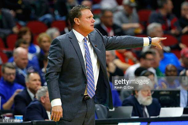 Head coach Bill Self of the Kansas Jayhawks reacts on the sideline in the first half against the Austin Peay Governors during the first round of the...