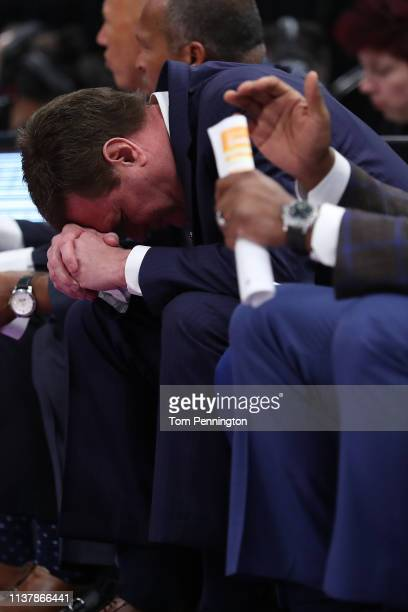 Head coach Bill Self of the Kansas Jayhawks reacts to a play against the Auburn Tigers during their game in the Second Round of the NCAA Basketball...
