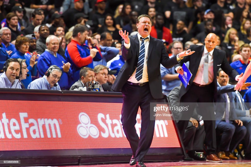 Head coach Bill Self of the Kansas Jayhawks reacts to an officials call during the second half of the game against the Texas Tech Red Raiders on February 24, 2018 at United Supermarket Arena in Lubbock, Texas. Kansas defeated Texas Tech 74-72.