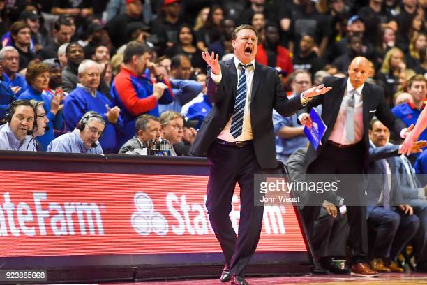 Head coach Bill Self of the Kansas Jayhawks reacts to an officials call during the second half of the game against the Texas Tech Red Raiders on...