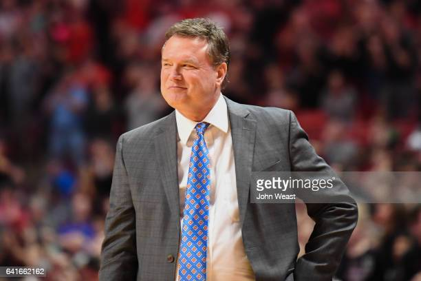 Head coach Bill Self of the Kansas Jayhawks reacts to play on the court during the game against the Texas Tech Red Raiders on February 11 2017 at...